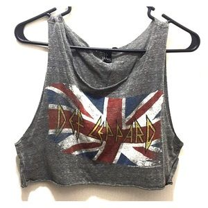 Def Leppard vintage knit crop top